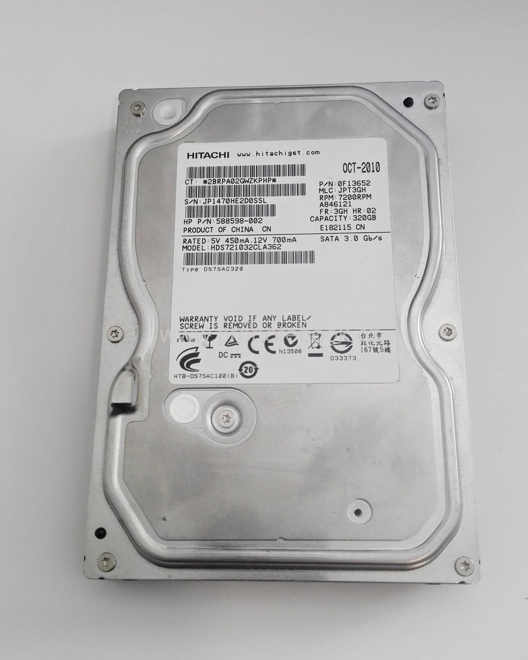 Hitachi  HDS721032CLA362 - 320GB, 7200RPM, SATA II