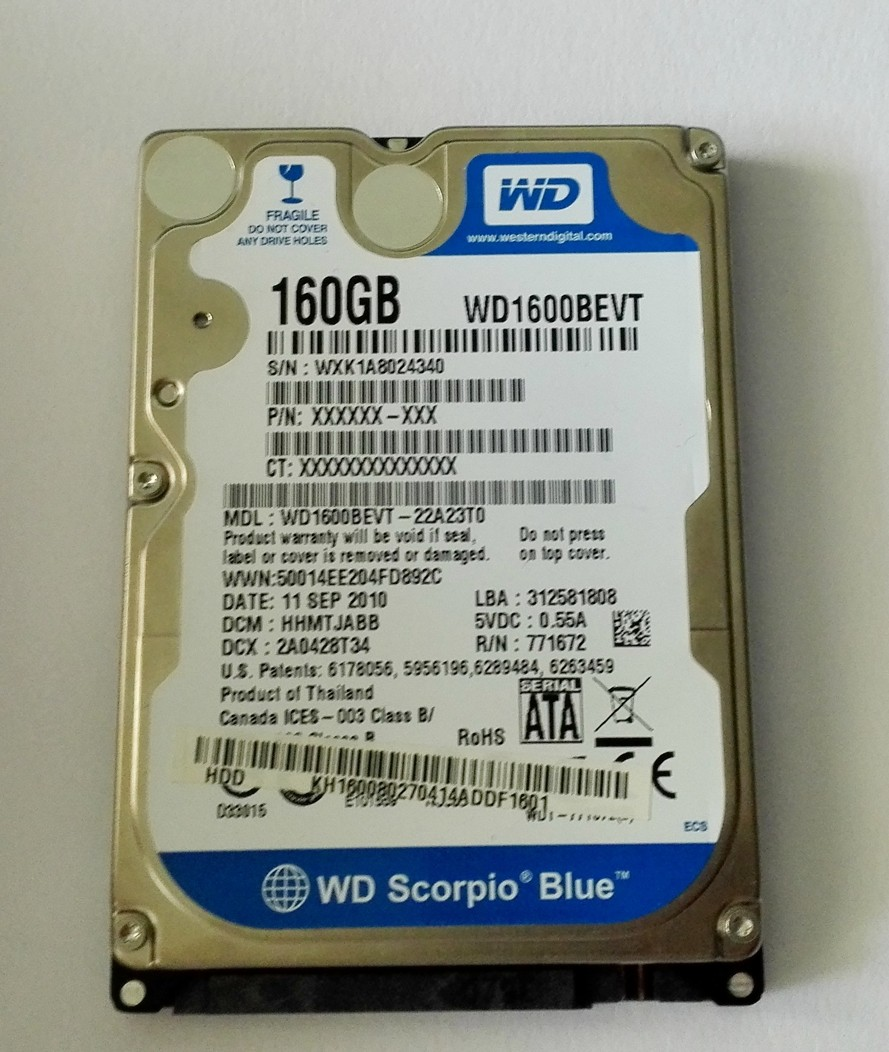 "WD Blue 160GB, 2,5"", SATAII, 8MB, 5400RPM, WD1600BEVT"
