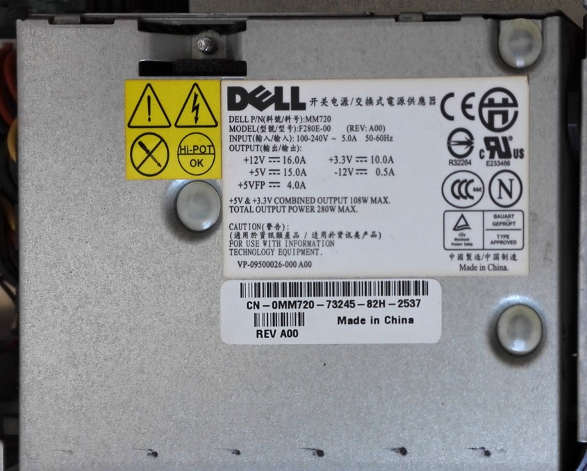 Dell Optiplex MM720 F280E-00 280W PC Power Supply SKLADEM