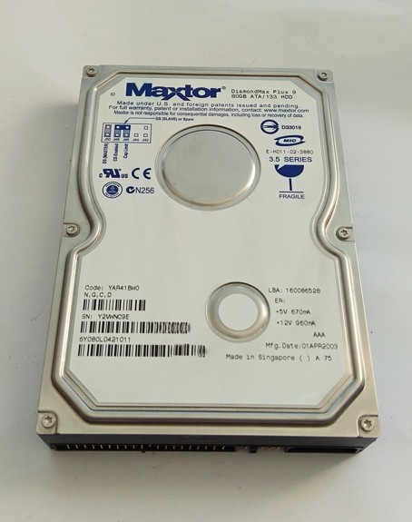 Maxtor DiamondMax Plus 9 80GB, 8MB, 6Y080L0, YAR41BW0, ATA-IDE, 7200