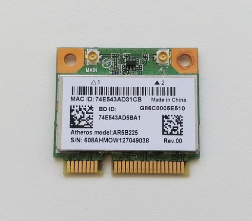 Anatel  Bluetooth V4.0 WiFi 150Mbps, 802.11B/G/N Mini PCI-Express  AR5B225