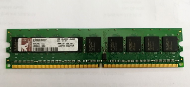 Kingston KW579C-ELC CMY 1GB 240p PC2-6400 CL6 9c 128x8 ECC DDR2-800 DIMM. 1,8V